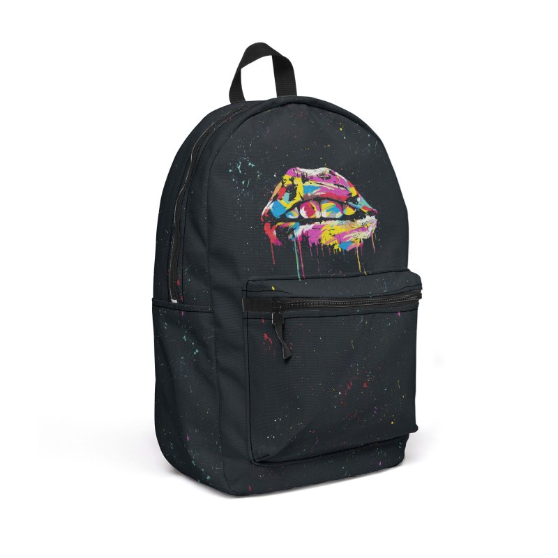 Colorful lips Accessories Backpack Bag by Balazs Solti