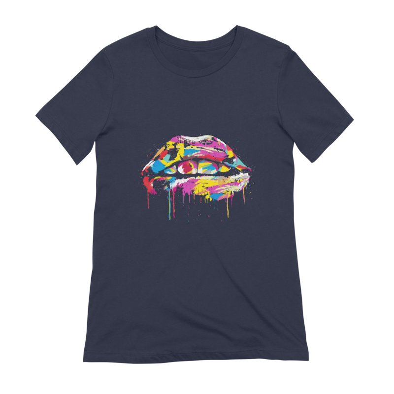 Colorful lips Women's Extra Soft T-Shirt by Balazs Solti