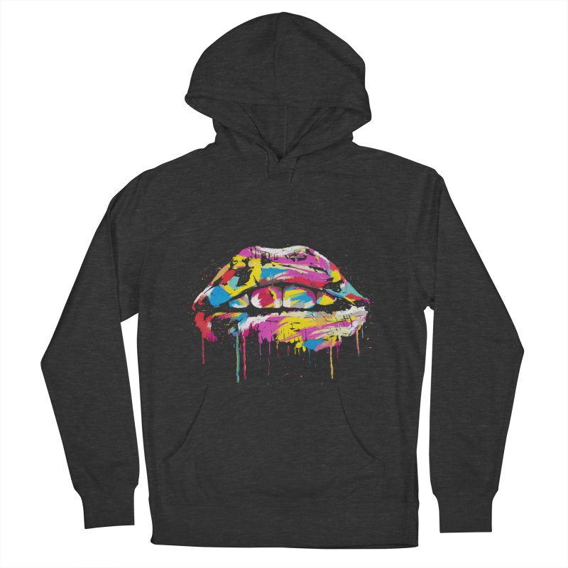 Colorful lips Women's French Terry Pullover Hoody by Balazs Solti
