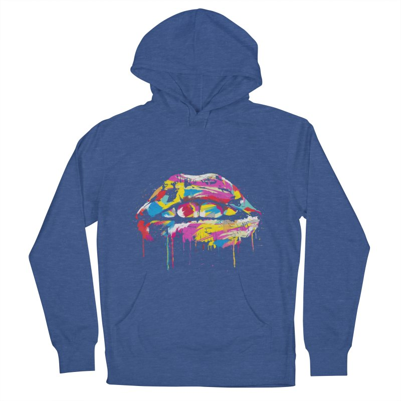 Colorful lips Men's French Terry Pullover Hoody by Balazs Solti