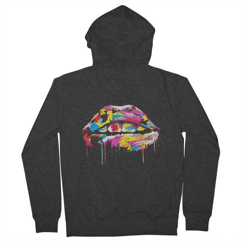 Colorful lips Men's French Terry Zip-Up Hoody by Balazs Solti