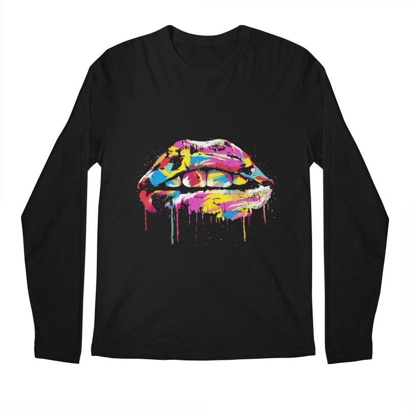 Colorful lips Men's Regular Longsleeve T-Shirt by Balazs Solti