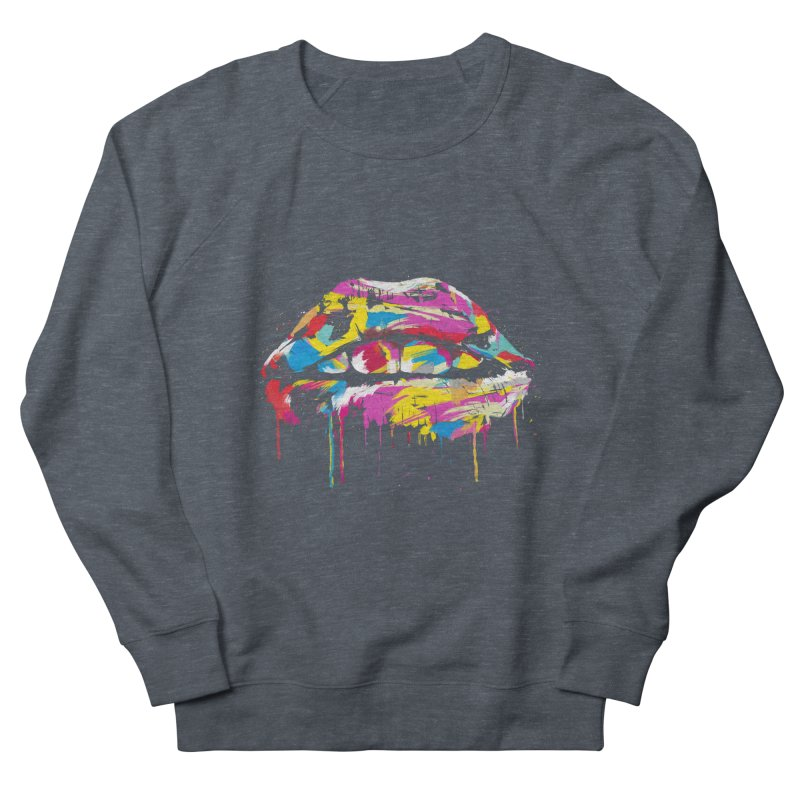Colorful lips Women's French Terry Sweatshirt by Balazs Solti