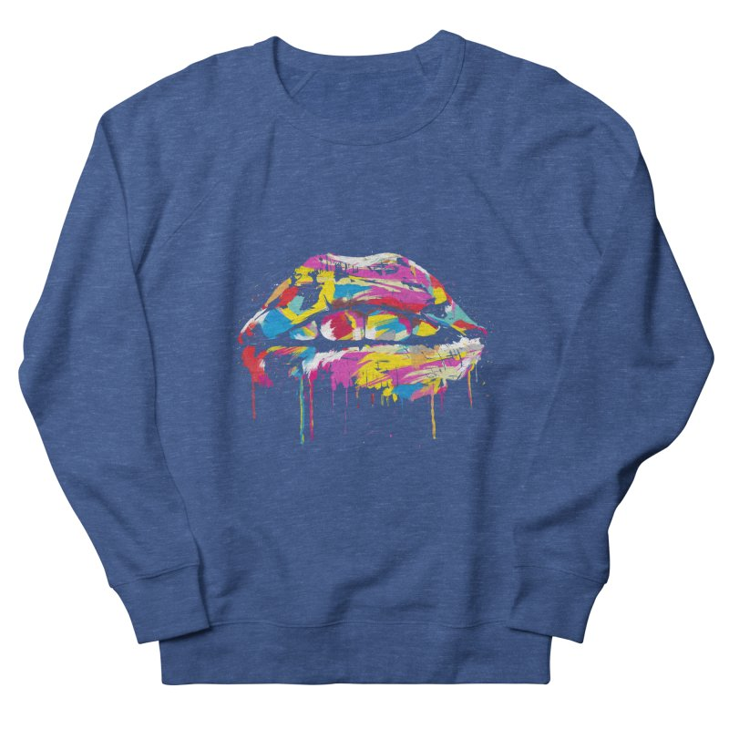Colorful lips Men's French Terry Sweatshirt by Balazs Solti
