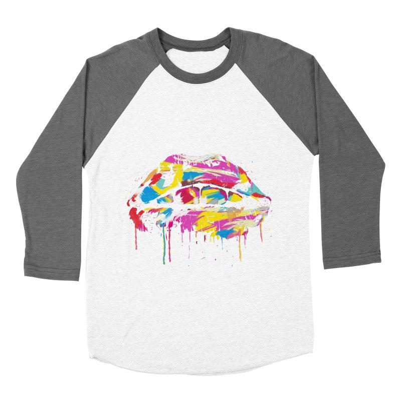 Colorful lips Women's Baseball Triblend Longsleeve T-Shirt by Balazs Solti