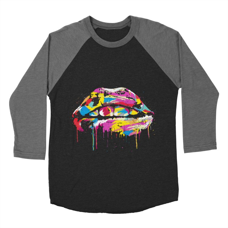 Colorful lips Men's Baseball Triblend Longsleeve T-Shirt by Balazs Solti
