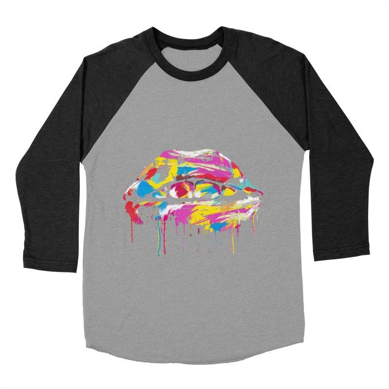 Colorful lips Men's Baseball Triblend Longsleeve T-Shirt by Balazs Solti