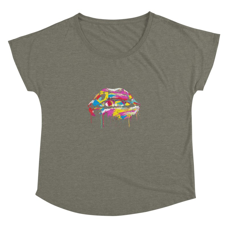 Colorful lips Women's Dolman Scoop Neck by Balazs Solti