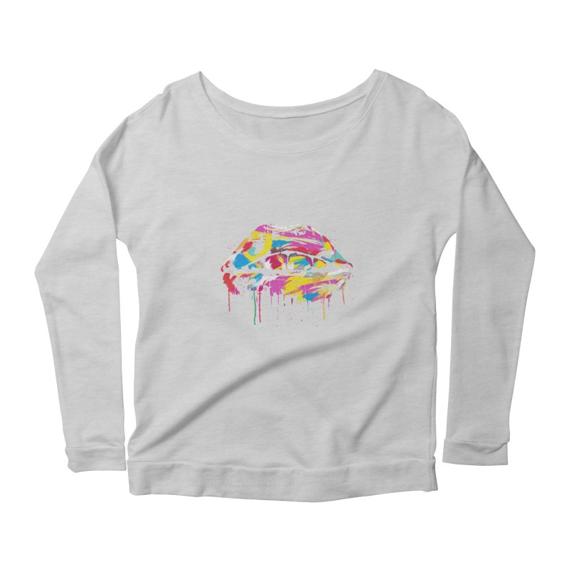 Colorful lips Women's Scoop Neck Longsleeve T-Shirt by Balazs Solti