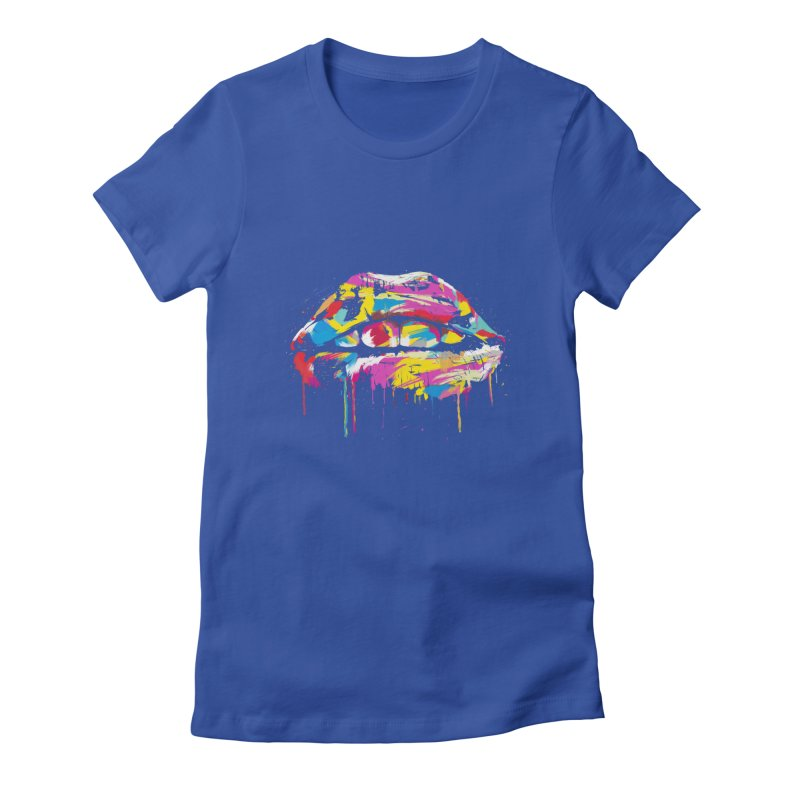 Colorful lips Women's Fitted T-Shirt by Balazs Solti