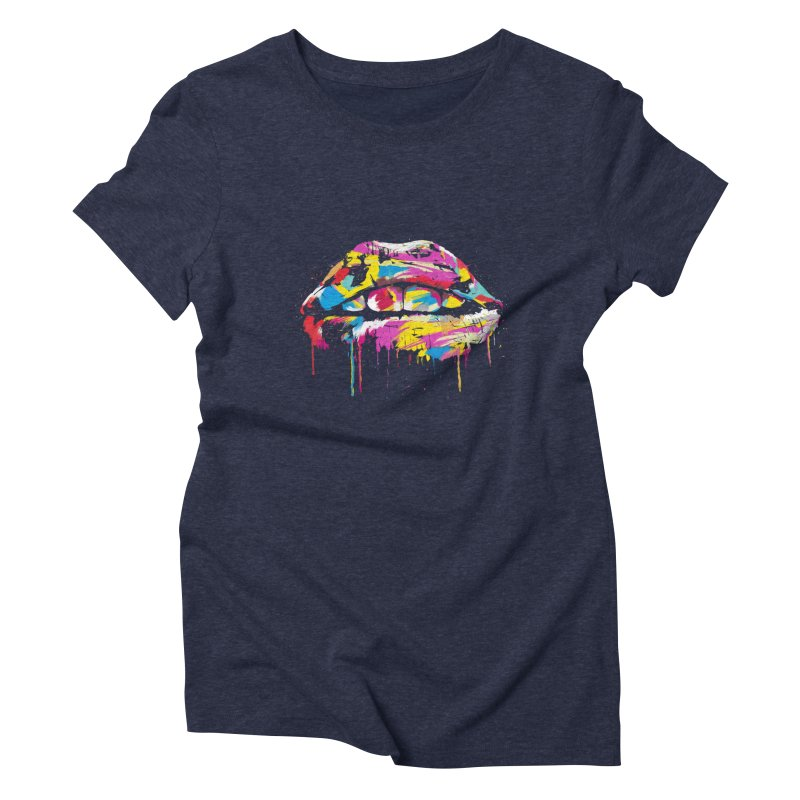 Colorful lips Women's Triblend T-Shirt by Balazs Solti