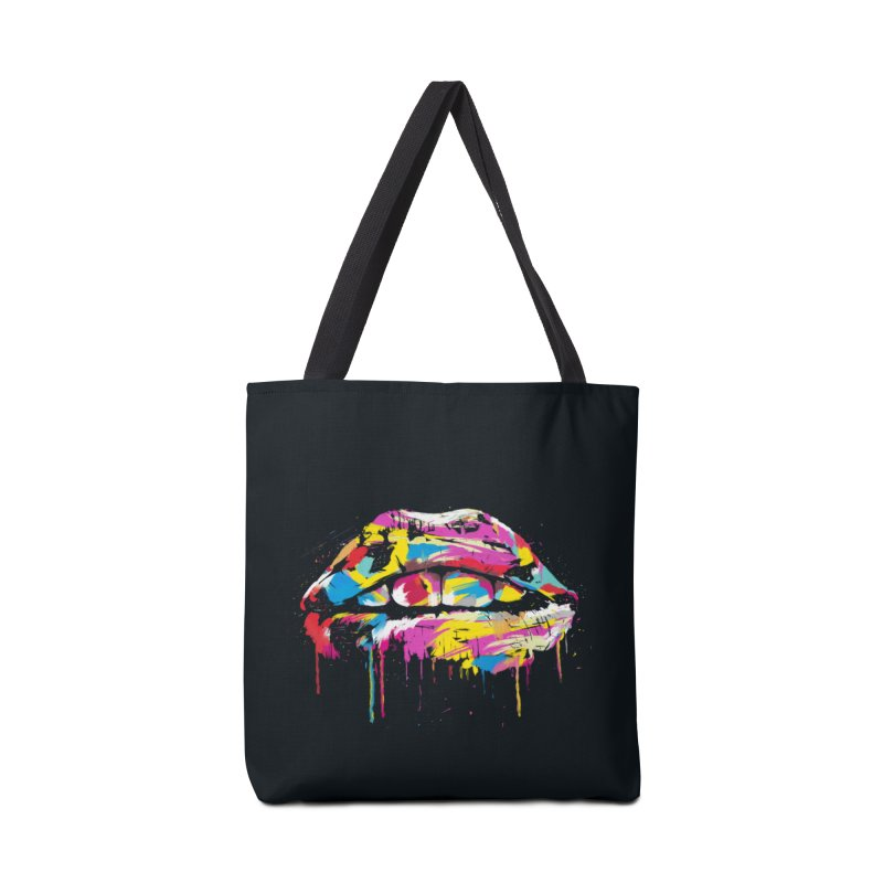Colorful lips Accessories Tote Bag Bag by Balazs Solti