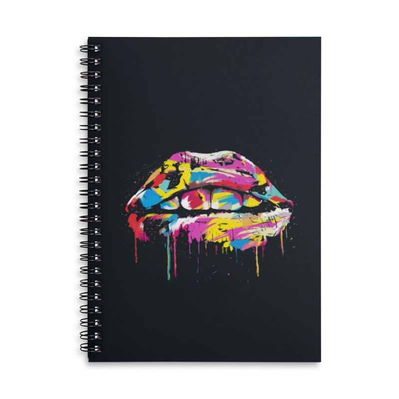 Colorful lips Accessories Lined Spiral Notebook by Balazs Solti