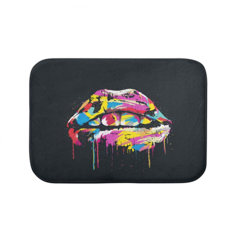 Colorful lips Home Bath Mat by Balazs Solti