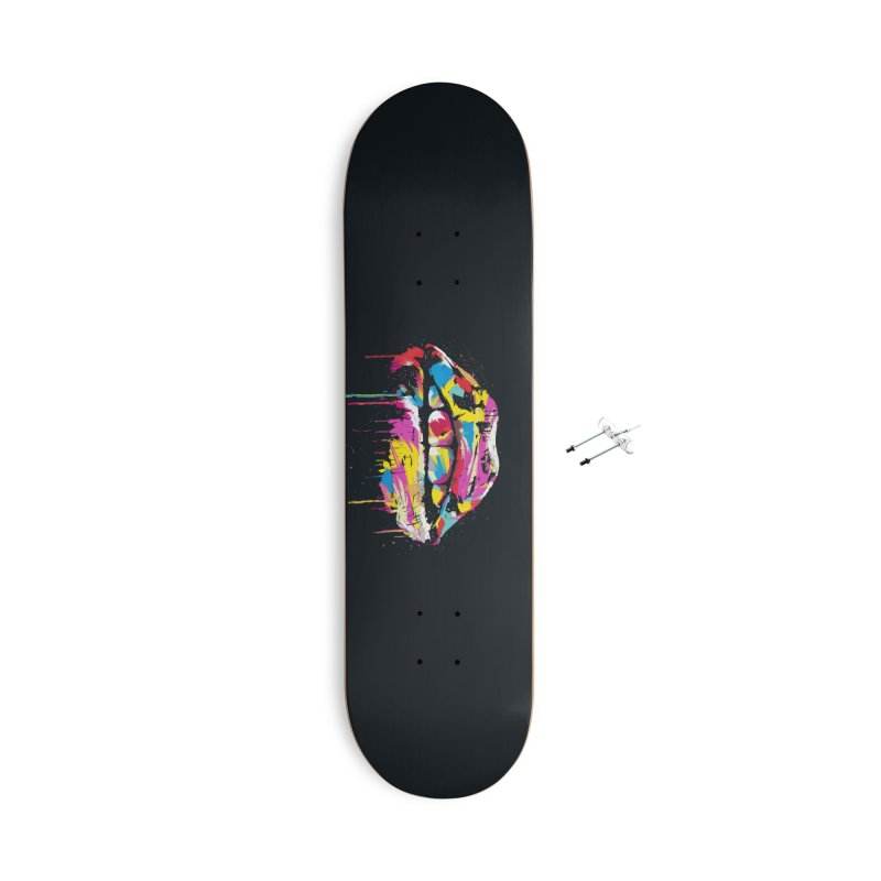 Colorful lips Accessories With Hanging Hardware Skateboard by Balazs Solti