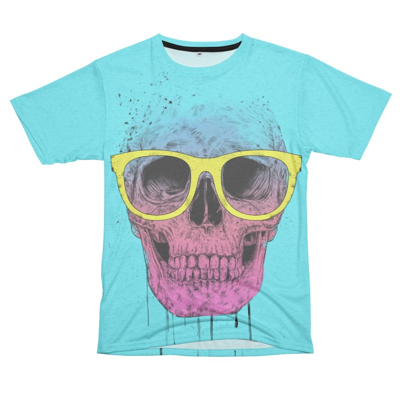 Pop art skull with glasses Men's French Terry T-Shirt Cut & Sew by Balazs Solti
