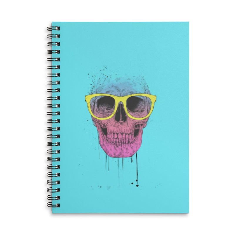 Pop art skull with glasses Accessories Lined Spiral Notebook by Balazs Solti