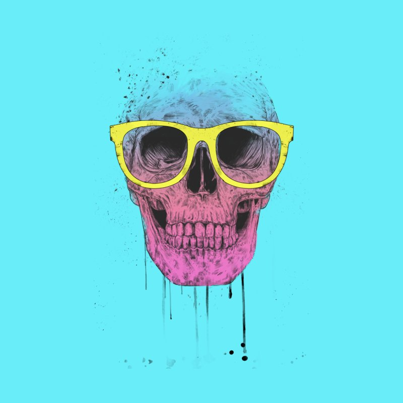 Pop art skull with glasses Women's T-Shirt by Balazs Solti
