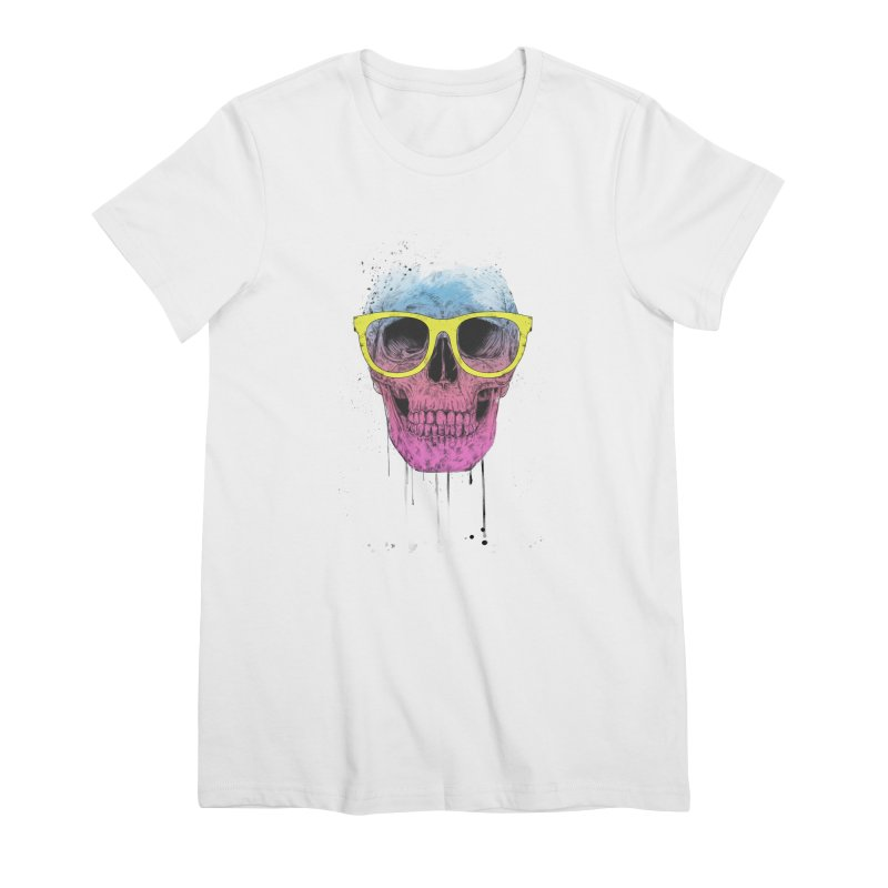 Pop art skull with glasses Women's Premium T-Shirt by Balazs Solti