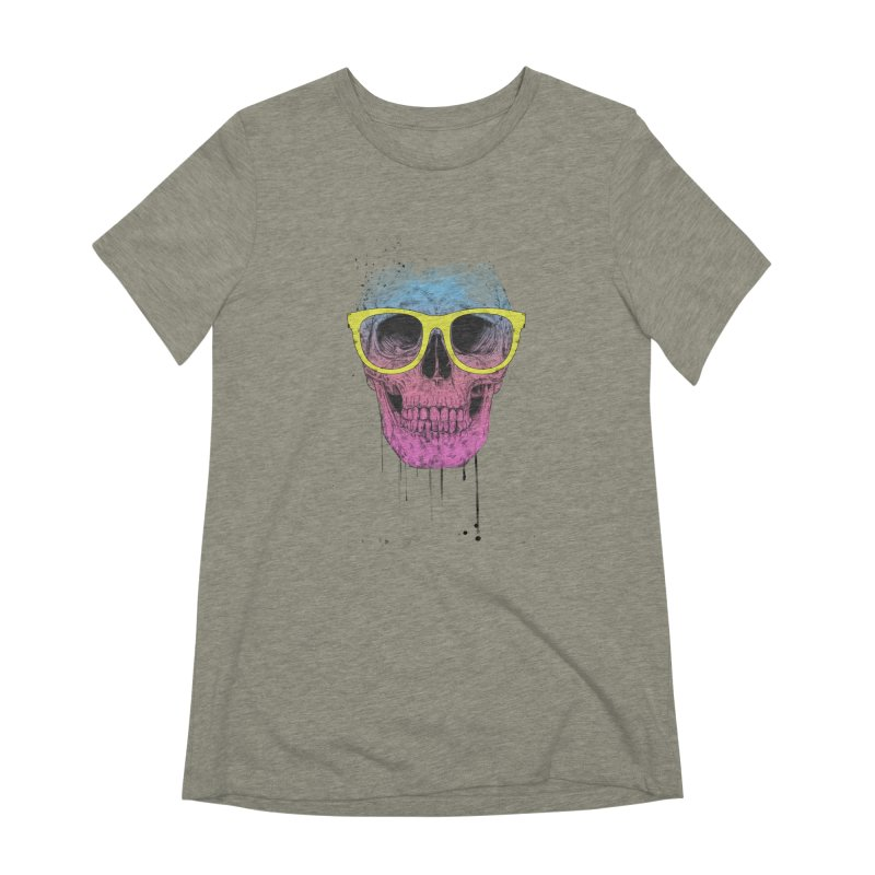 Pop art skull with glasses Women's Extra Soft T-Shirt by Balazs Solti