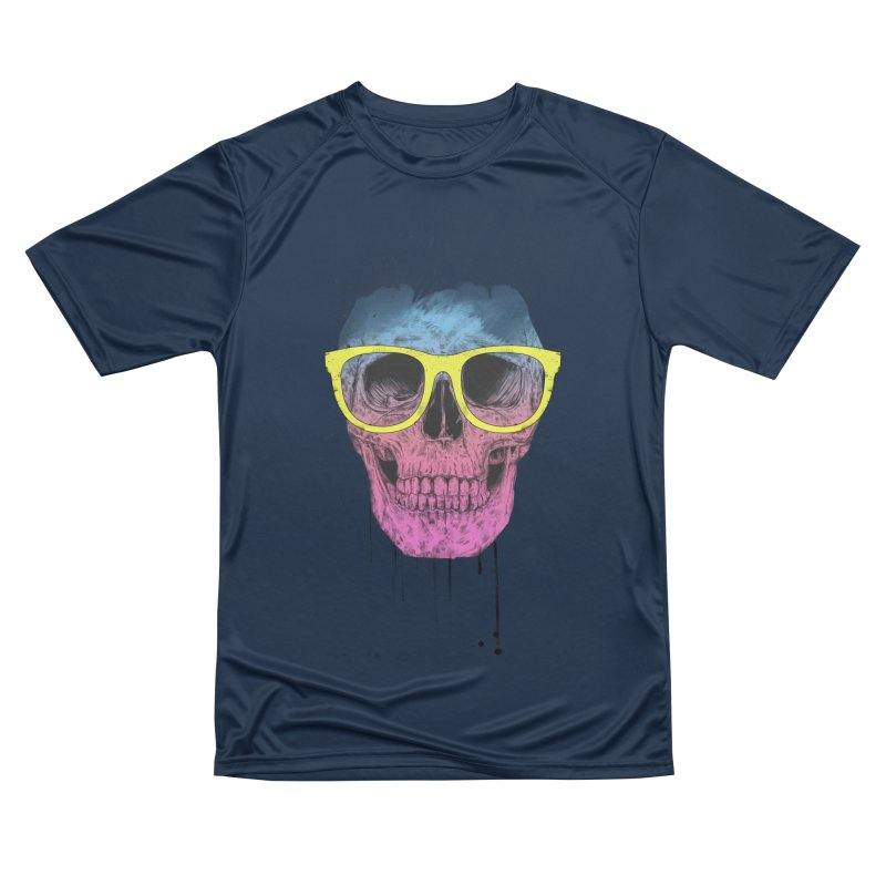 Pop art skull with glasses Women's Performance Unisex T-Shirt by Balazs Solti