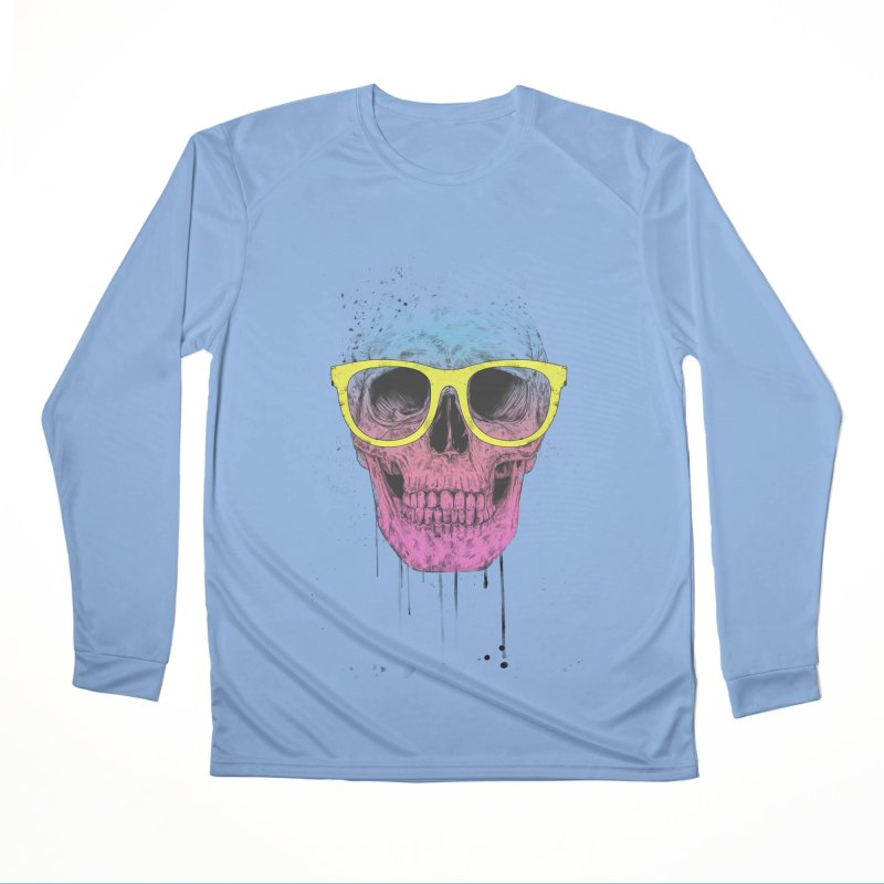 Pop art skull with glasses Men's Longsleeve T-Shirt by Balazs Solti