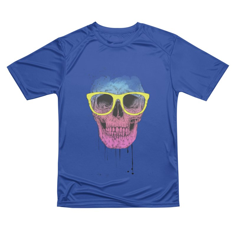 Pop art skull with glasses Men's Performance T-Shirt by Balazs Solti