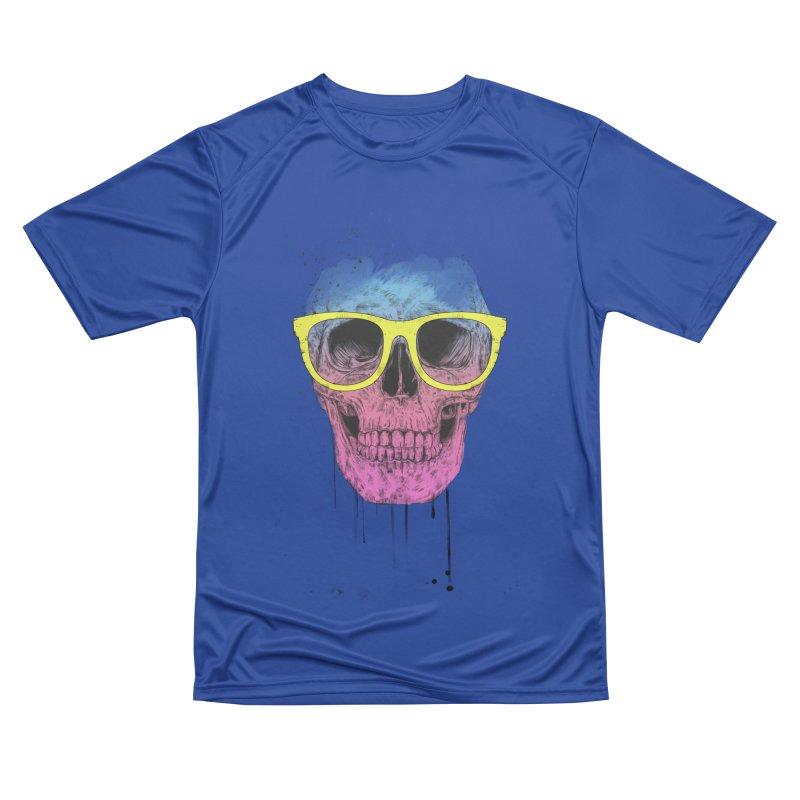 Pop art skull with glasses Women's Performance Unisex T-Shirt by Balazs Solti