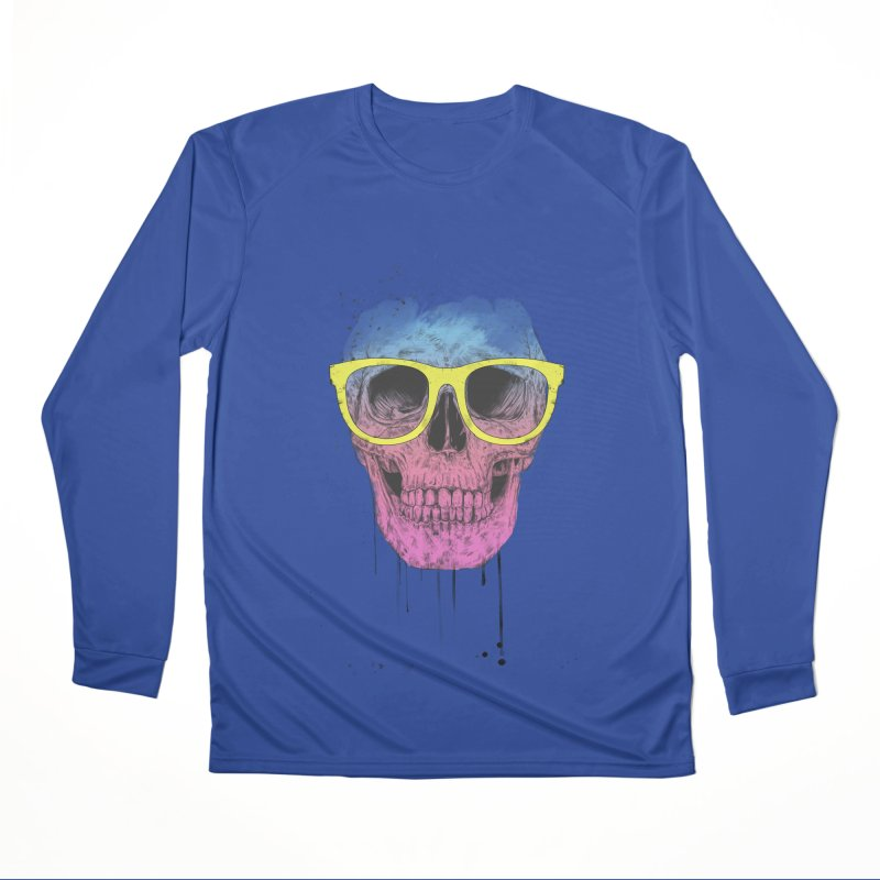 Pop art skull with glasses Women's Performance Unisex Longsleeve T-Shirt by Balazs Solti
