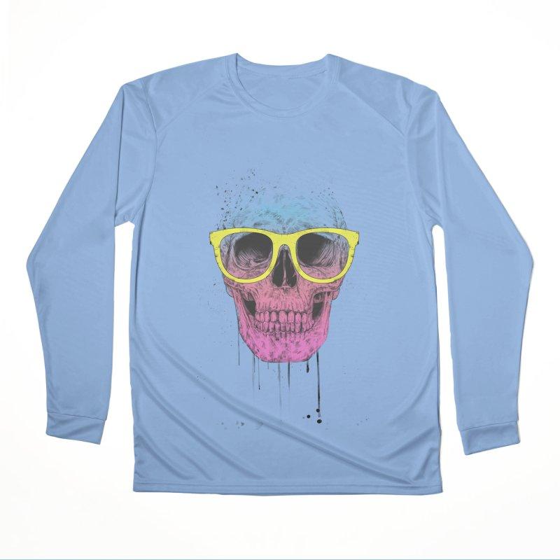 Pop art skull with glasses Women's Longsleeve T-Shirt by Balazs Solti