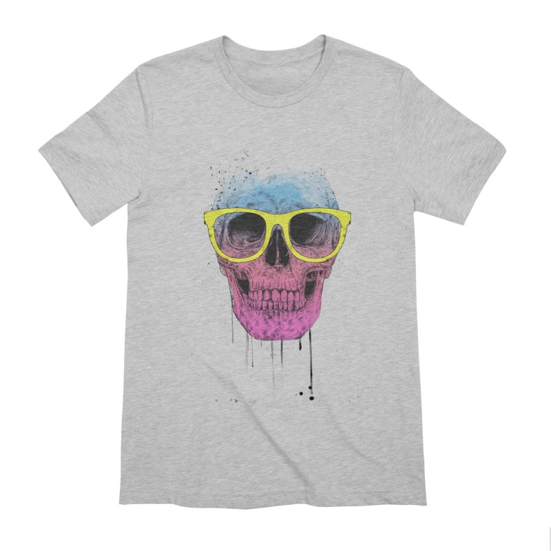 Pop art skull with glasses Men's Extra Soft T-Shirt by Balazs Solti