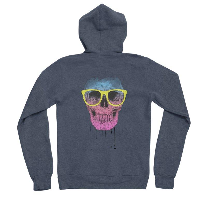 Pop art skull with glasses Women's Sponge Fleece Zip-Up Hoody by Balazs Solti