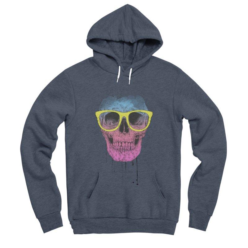 Pop art skull with glasses Men's Sponge Fleece Pullover Hoody by Balazs Solti