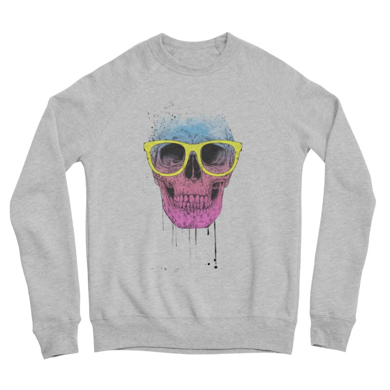 Pop art skull with glasses Women's Sponge Fleece Sweatshirt by Balazs Solti