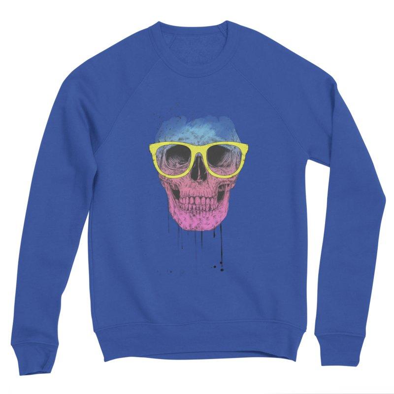 Pop art skull with glasses Men's Sponge Fleece Sweatshirt by Balazs Solti