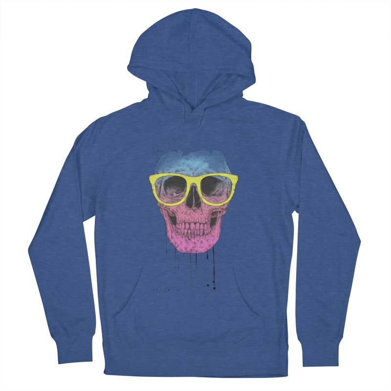 Pop art skull with glasses Women's French Terry Pullover Hoody by Balazs Solti