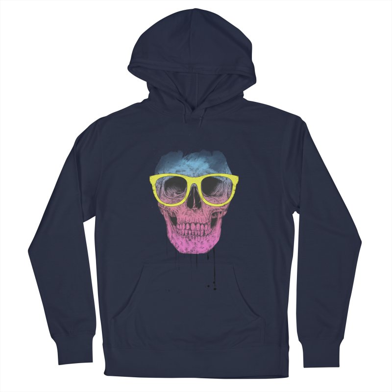 Pop art skull with glasses Men's French Terry Pullover Hoody by Balazs Solti
