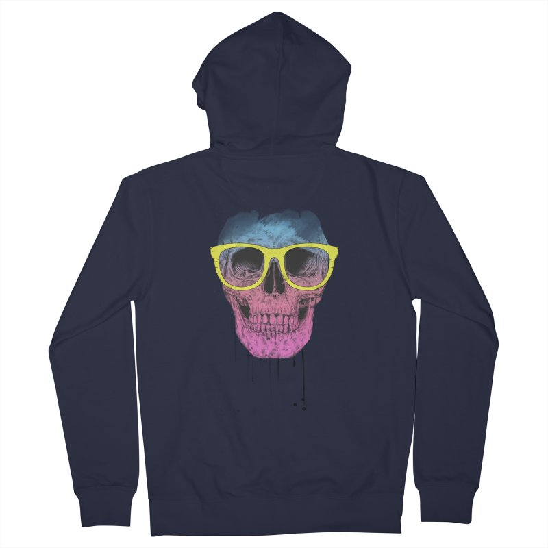 Pop art skull with glasses Women's French Terry Zip-Up Hoody by Balazs Solti