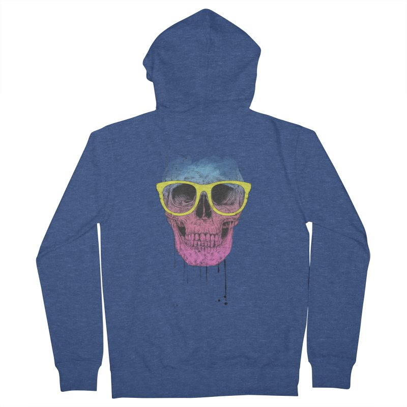 Pop art skull with glasses Men's French Terry Zip-Up Hoody by Balazs Solti