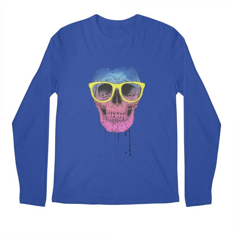 Pop art skull with glasses Men's Regular Longsleeve T-Shirt by Balazs Solti
