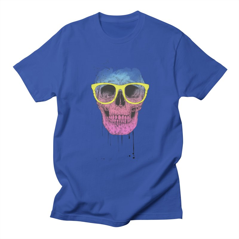 Pop art skull with glasses Men's Regular T-Shirt by Balazs Solti