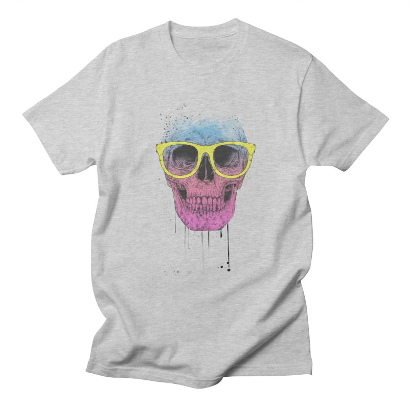 Pop art skull with glasses Women's Regular Unisex T-Shirt by Balazs Solti