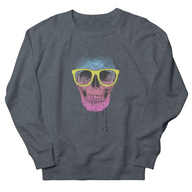 Pop art skull with glasses Women's French Terry Sweatshirt by Balazs Solti