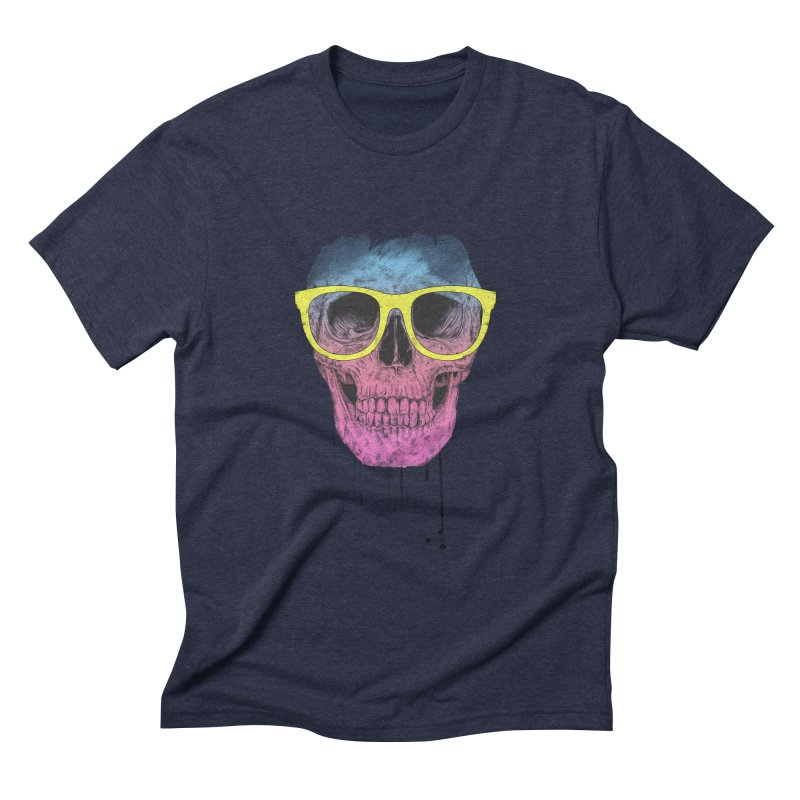Pop art skull with glasses Men's Triblend T-Shirt by Balazs Solti