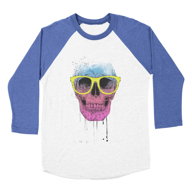 Pop art skull with glasses Women's Baseball Triblend Longsleeve T-Shirt by Balazs Solti
