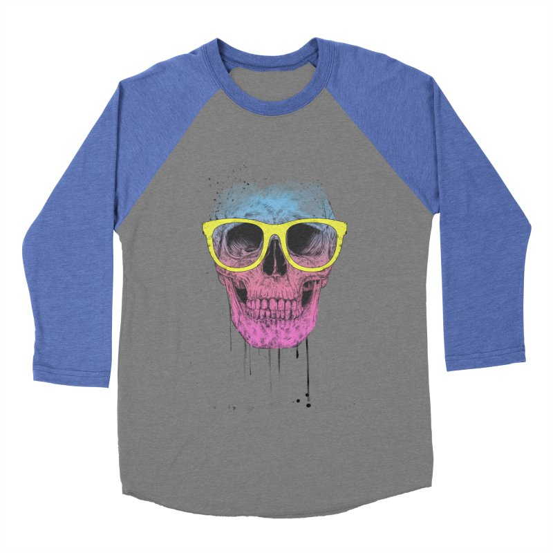 Pop art skull with glasses Men's Baseball Triblend Longsleeve T-Shirt by Balazs Solti