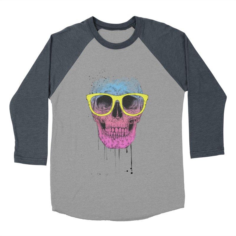 Pop art skull with glasses Men's Baseball Triblend Longsleeve T-Shirt by Balazs Solti