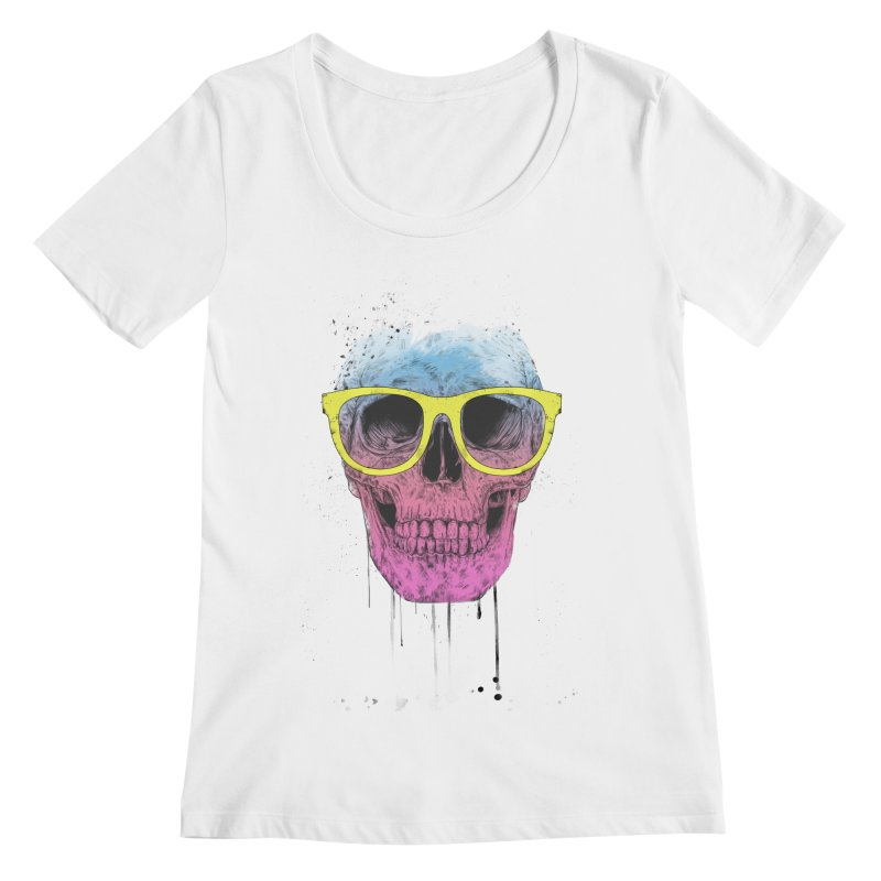 Pop art skull with glasses Women's Regular Scoop Neck by Balazs Solti