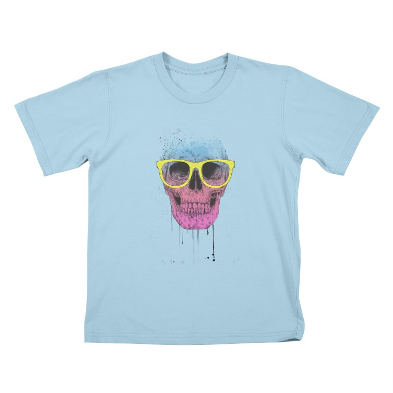 Pop art skull with glasses Kids T-Shirt by Balazs Solti