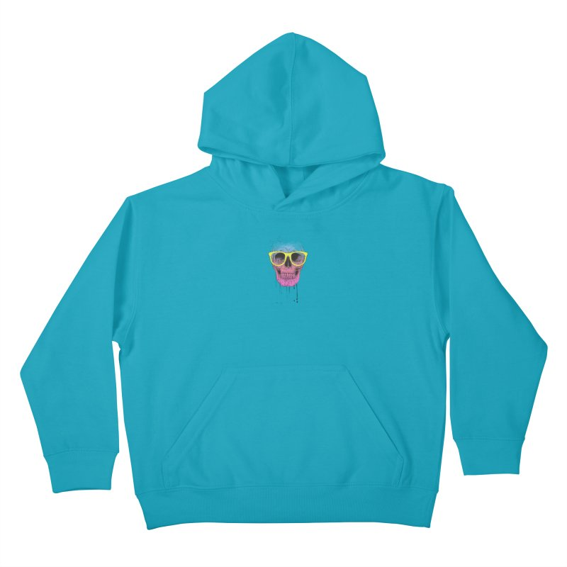Pop art skull with glasses Kids Pullover Hoody by Balazs Solti
